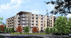 Developer 169/55 LLC has proposed a 157-unit apartment complex on the southwest quadrant of Highways 169 and 55 in Plymouth. The project would include 16 affordable units. (Submitted rendering: Kaas Wilson Architects )