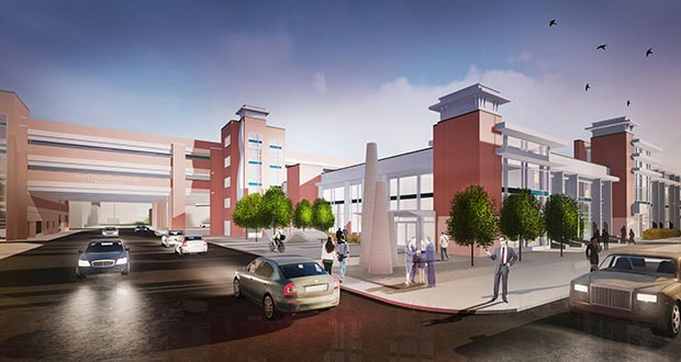 The city of St. Cloud plans to start construction next month on a new parking structure for the city-owned River's Edge Convention Center, as seen in this submitted rendering. (Submitted rendering: HMA Architects)