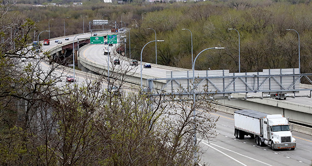 A half-cent sales tax and a $20 excise tax on vehicle purchases in Scott County are expected to raise $6 million per year. Much of that money will be used for 13 road projects, including expanding the capacity of the Bloomington Ferry Bridge. (File photo: Bill Klotz)