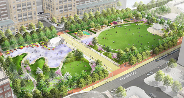 The latest plans for Downtown East Commons, based on extensive feedback from community members and other stakeholders, emphasize green space that can also be used for events and festivals. (Submitted rendering: City of Minneapolis)