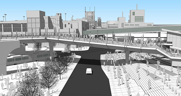 A rendering shows a bridge connection over Chicago Avenue that would link the new Vikings stadium and the Downtown East light rail transit platform in Minneapolis. (Submitted image: Metro Transit)