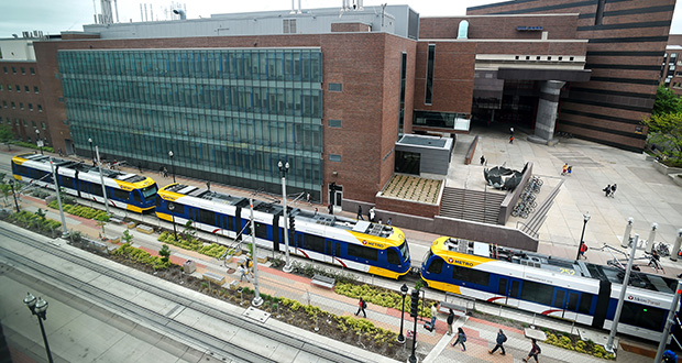 Reducing the Green Line's speed to 15 mph near Amundson Hall on the University of Minnesota campus in Minneapolis has mitigated vibration impacts. But the school remains concerned about electromagnetic interference on its sensitive labs. (Staff photo: Craig Lassig)