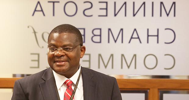 Kenyan Ambassador Robinson Njeru Githae spoke Monday to the Minnesota Chamber of Commerce in St. Paul. (Staff photo: Bill Klotz)