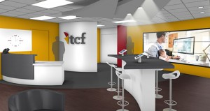 """TCF Bank's new offices at the Plymouth Corporate Center, at 1405 Xenium Lane N. in Plymouth, will feature the bank's new logo. The entry will also feature a """"bar"""" with several iPads for customer and employee use. (Submitted rendering)"""