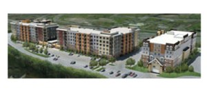 Global One Commercial expects to start construction in the next 60 to 90 days on the 303-unit Three-Nine-Four luxury apartment building in Golden Valley. A 120-unit senior building is also planned. (Submitted rendering)