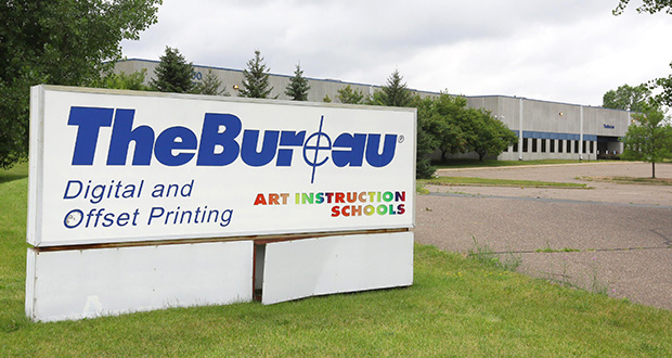 Bell Manufacturing hopes to buy the 130,000-square-foot building at 3400 Technology Drive NE in Minneapolis. The 20-year-old property is owned by the Bureau of Engraving Inc., but hasn't been used for commercial printing since last November. (Staff photo: Bill Klotz)