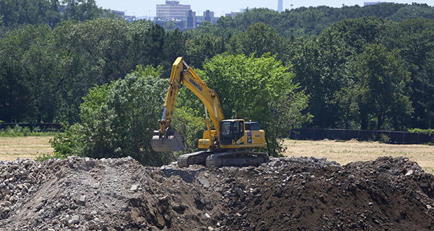 The city of St. Paul has overseen equipment removal and building demolition at the former Ford Motor Co. assembly plant site. Slab removal and environmental testing started last year. This photo shows construction equipment on the site Thursday. (Staff photo: Bill Klotz)