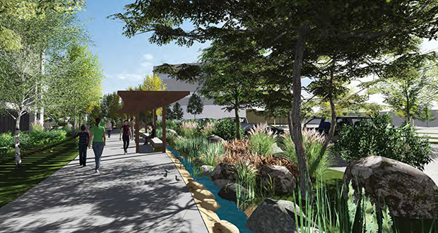 A rendering shows Graco Inc.'s proposed campus building in northeast Minneapolis and connections to a public park currently in development. (Submitted rendering: RSP Architects)