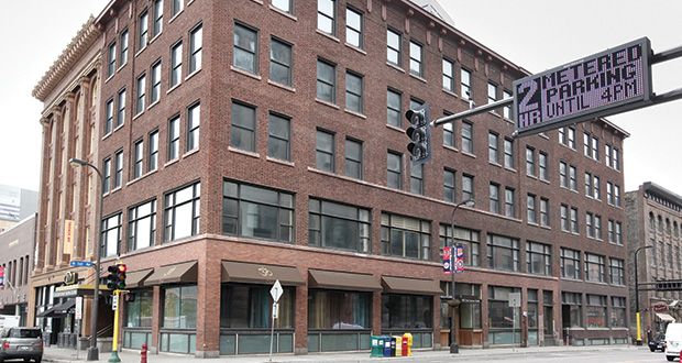 The former Nate's Clothing building, at 401 First Ave. N., was built in 1914. The century-old property is also known as the Manufacturers Building. (File photo: Bill Klotz)