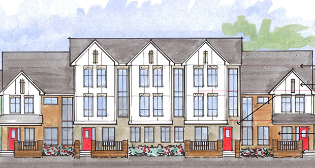 Melrose Development is proposing 70 rental townhomes in two- and three-story buildings just south of Interstate 394 in St. Louis Park. (Submitted rendering)