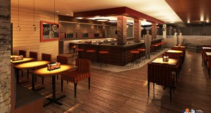 A remodeled restaurant and lounge (pictured), a new pool and fitness area, and an outdoor patio are part of a planned second phase of renovation. (Submitted rendering: DSGW Architects)