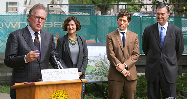 Ryan Cos. CEO Pat Ryan, left, on Thursday announces $7 million in contributions so far for the 4.2-acre Downtown East Commons park in Minneapolis. He was joined by Minneapolis Mayor Betsy Hodges, Minneapolis City Council Member Jacob Frey and Wells Fargo Minnesota CEO Dave Kvamme. (Staff photo: Bill Klotz)