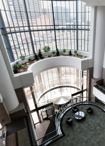 The lobby of the former American Express data center looks like it belongs in any office tower in downtown Minneapolis. New owner DCI Technology Holdings will spend $20 million on a renovation of the 467,000-square-foot space to accommodate multiple users. (File photo: Bill Klotz)