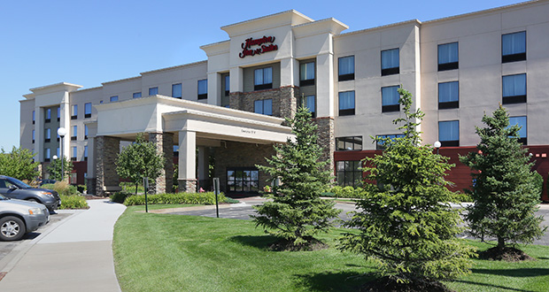 The 114-room Hampton Inn & Suites at 13550 Commerce Blvd. in Rogers sold for $7 million. It was among 29 hotels in a portfolio Duluth-based ZMC Hotels sold to Hall Equities Group. (Staff photo: Bill Klotz)