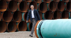 President Barack Obama walks through the TransCanada Stillwater Pipe Yard in March 2012 in Cushing, Oklahoma. For six and a half years, the White House has had a quick comeback to questions about its yet-to-be-announced decision on the proposed Keystone XL pipeline: Talk to the State Department. (AP File Photo)