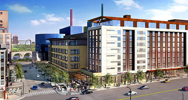 Golden Valley-based M.A. Mortenson Co. is in line to get exclusive negotiating rights to take over 800 Washington Ave. S. in downtown Minneapolis, where it plans to build a 188-room Hyatt Centric hotel. (Submitted rendering)