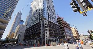 Mortenson's 262-unit 4Marq tower at 400 Marquette Ave. in downtown Minneapolis is among the new apartment projects coming to market in 2015. (Staff photo: Bill Klotz)