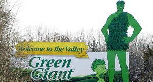 This Dec. 22, 2005 photo shows a Green Giant sign on a hillside near Le Sueur, Minnesota. General Mills is selling its Green Giant and Le Sueur vegetable businesses to B&G Foods Inc. for about $765 million in cash. (AP file photo)