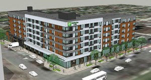 St. Cloud-based Brutger Equities is planning a 225-room Holiday Inn and Suites near downtown Rochester, adjacent to St. Mary's Hospital and not far from the Mayo Clinic. (Submitted rendering: Rochester-Olmsted Planning Department)