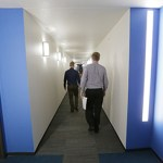 Hallways are brightly lit to create a sense of safety and openness.  (Staff photo: Bill Klotz)