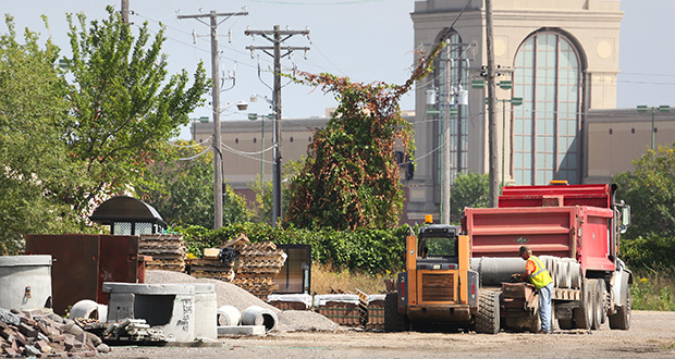 Ramsey County commissioners on Tuesday approved a resolution that would provide property tax relief on a proposed Major League Soccer stadium site at Snelling and University avenues near Interstate 94 in St. Paul, home to a former bus maintenance facility. The area lately has been used for staging. (Staff photo: Bill Klotz)