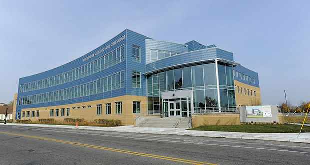 The new Washburn Center for Children is a three-story, 56,000-square-foot L-shape building anchored by a light-filled glass and steel, leaf-shaped atrium. (File photo)
