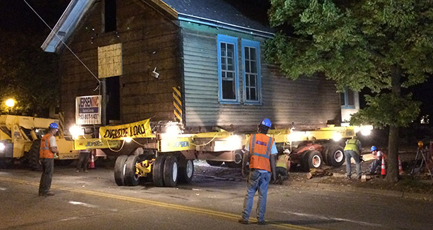 Crews from Jepsen Inc. move the 140-year-old Charles Palmer House to its new location at 41 Douglas St. in St. Paul. (Submitted photo: Preservation Alliance of Minnesota)