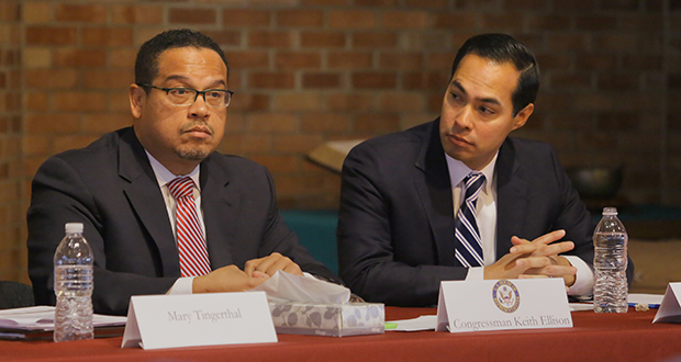 Secretary of Housing and Urban Development Julian Castro (right) joined U.S. Rep. Keith Ellison, D-Minnesota, at an affordable housing discussion Friday at the Mayflower Church in south Minneapolis. Staff photo: Bill Klotz