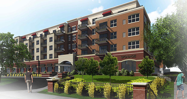 This rendering shows the proposed design of The Shoreham, a 150-unit apartment and office building Bader Development plans to start building this month on the southwest quadrant of Highway 7  and France Avenue. (Submitted rendering: DJR Architecture Inc.)