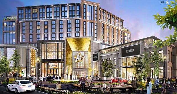 The latest Mall of America expansion proposal details a 180-room luxury hotel with room for 120 residential units on its top floors. The project would add to a slew of hospitality development in Bloomington, which has 970 new hotel rooms in its pipeline this year. (Submitted rendering: Bloomington Port Authority)