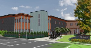 The planned 66 West affordable housing building at 3330 W. 66th St. in Edina will have 39 studio units, community areas and office space for on-site services. The city is proposing a new TIF district to help fund the project. Submitted rendering: Beacon Interfaith Housing Collaborative