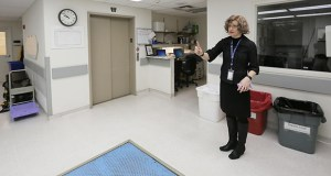 """Melissa Lallak, department administrator for the Hennepin County Medical Examiner's Office, described this area in the county morgue as a """"pinch point"""" where bodies are brought down to the lower level and weighed. The county wants to replace the existing morgue at 530 Chicago Ave. S. in Minneapolis. Staff photo: Bill Klotz"""