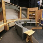The sets for the program Almanac in the TV studio, one of the few areas left unchanged during the renovation.