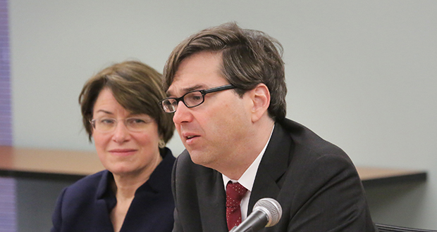 Jason Furman, chairman of the White House Council of Economic Advisers, spoke alongside U.S. Sen. Amy Klobuchar on Wednesday at the University of Minnesota's Humphrey School of Public Affairs. The two held a discussion on millennials and the economy. Staff photo: Bill Klotz