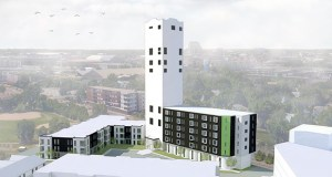 Project for Pride in Living plans to convert the Bunge grain elevators site at 932 12th Ave. SE in Minneapolis into 150 market-rate apartments and affordable artist lofts. Submitted rendering: UrbanWorks Architecture