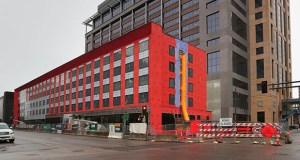 Work continued Thursday on the five-story, 164-room Radisson Red hotel under construction at 619 Third St. S. in downtown Minneapolis. The Radisson Red is Carlson Hotels' newest brand and will be its first in Minnesota. (Staff photo: Bill Klotz)