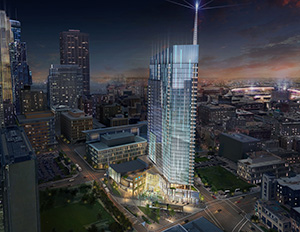 The United Properties 35-story tower and public plaza would blend into Cancer Survivors Park to the south and offer 11,500-square feet of retail on the ground level. Submitted rendering: ESG Architects