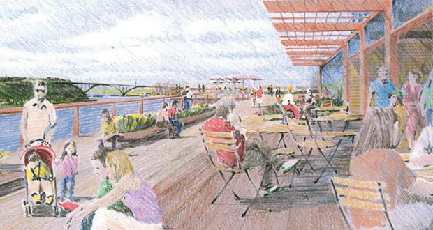 St. Paul officials on Wednesday got more details on plans to build a 1.5-mile pedestrian path along the bluffs that line the city's downtown, but they raised questions over unknown costs and financing for the plan. (Submitted rendering: City of St. Paul)