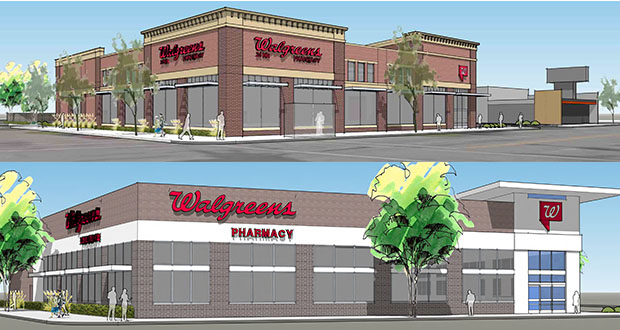 Top, new: Semper Development has added more brick, more windows and a detailed cornice to the building design for the Walgreens it is planning to build at 2650 Hennepin Ave. S. in Uptown Minneapolis. Bottom, old: Area residents expressed dissatisfaction with this earlier design for the Walgreens, saying it felt suburban. (Submitted renderings: Archnet USA via City of Minneapolis)