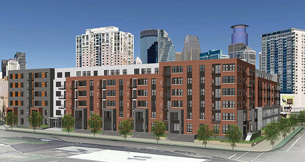 The Elliot Park Neighborhood Organization has given its support for the 1400 Park mixed-use project Weidner Apartment Homes is planning to build at 1400 Park Ave. S. in Minneapolis. (Submitted rendering: BKV Group)
