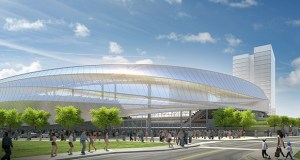 Backers of the 20,000-seat pro soccer stadium slated to rise in St. Paul's Midway neighborhood are waiting on Gov. Mark Dayton to approve a tax bill that includes a property tax exemption on the 10-acre site, while existing statute offers eventual sales tax relief on construction materials. (Submitted rendering: Minnesota United FC)