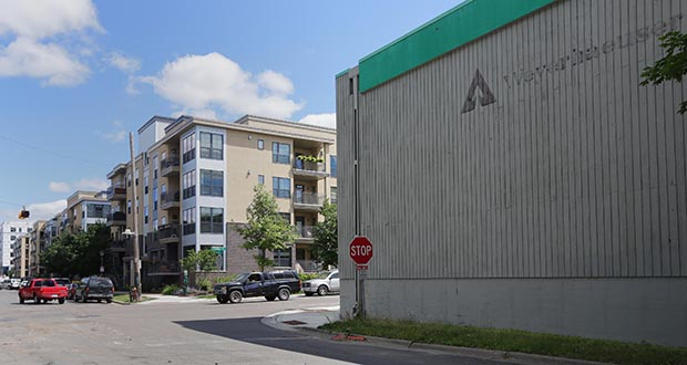 Plymouth-based Dominium plans to replace the buildings on this former Weyerhaueser Co. warehouse site at 700 Emerald St. SE in St. Paul with affordable housing. (Staff photo: Bill Klotz)