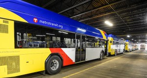 New 40-foot bus rapid transit vehicles wait in Metro Transit's south garage in Minneapolis. The buses are ready to start running Saturday, kicking off the region's first arterial BRT line, running through four cities between Roseville and Minneapolis. (Staff photo: Craig Lassig)