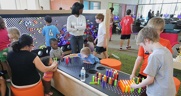 "Hennepin County's new Brooklyn Park Library, 8500 W. Broadway Ave., includes a ""dynamic play and learn"" space for families. The space was designed with the Minnesota Children's Museum. (Staff photo: Bill Klotz)"