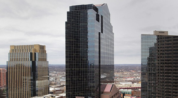 The Plaza Seven office tower at 45 S. Seventh St. was 58 percent leased in 2013, when City Center Realty Partners paid $43.6 million for the 36-story building in downtown Minneapolis. It's now 97.2 percent occupied, according to City Center. Franklin Street Properties has paid nearly double that 2013 price. (File photo: Bill Klotz)