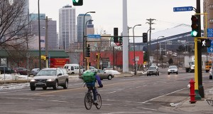 A planned street repaving and redesign of Franklin Avenue in Minneapolis is being pushed back a year after bids for the project came in higher than expected. Neighbors, bicyclists and pedestrians have been pushing for a change to the complicated intersection for years. (Staff photo: Bill Klotz)