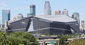 The exterior profile of U.S. Bank Stadium in downtown Minneapolis is considered by some local architects to be ground-breaking and progressive. (Staff photo: Bill Klotz)