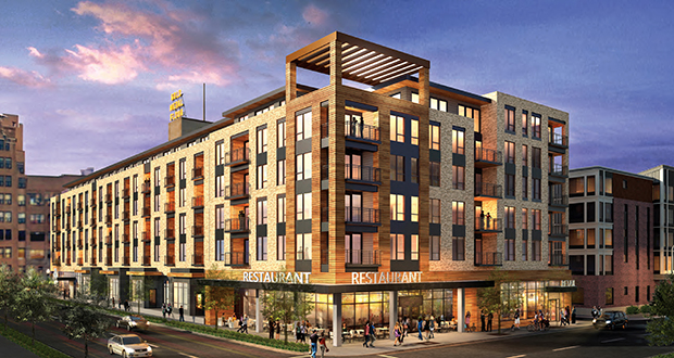 Sherman Associates has six months to work with the city of Minneapolis staff to nail down a purchase and development agreement for a 36,000-square-foot lot at 205 Park Ave. The Minneapolis developer has proposed 115 apartment units on top of retail and four townhomes. (Submitted rendering: ESG Architects)