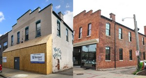 Left: Before renovations began on the Conley-Maass building at 14 Fourth St. SW in downtown Rochester, the former woolen mill and camera factory had seen its brick and other finishes deteriorate over 116 years. (File photo: Bill Klotz) Right: The recently completed renovation restored the building's historic exterior color and finishes and made room for tech companies inside. (Submitted photo: Destination Medical Center Corp.)