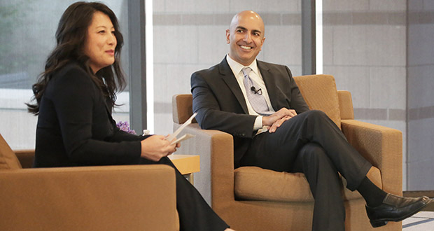MayKao Hang, president and CEO of the Amherst H. Wilder Foundation, chats Wednesday with Minneapolis Federal Reserve Bank President Neel Kashkari about the employment gap for people of color in Minnesota. (Staff photo: Bill Klotz)